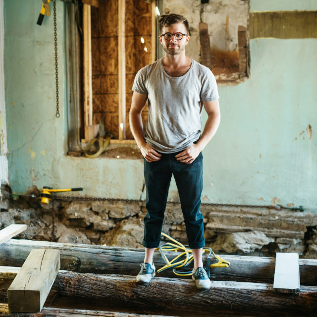 Designer Alex Fida photographed at House Of Falconer during construction.