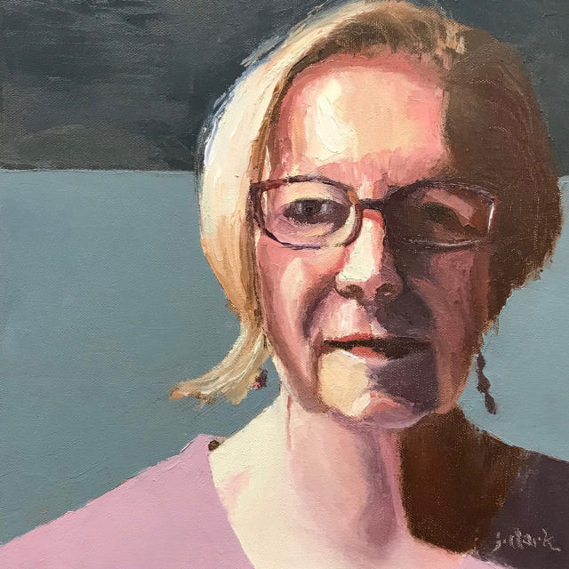 Self Portrait by Judy Clark, oil with palette knife on gallery canvas