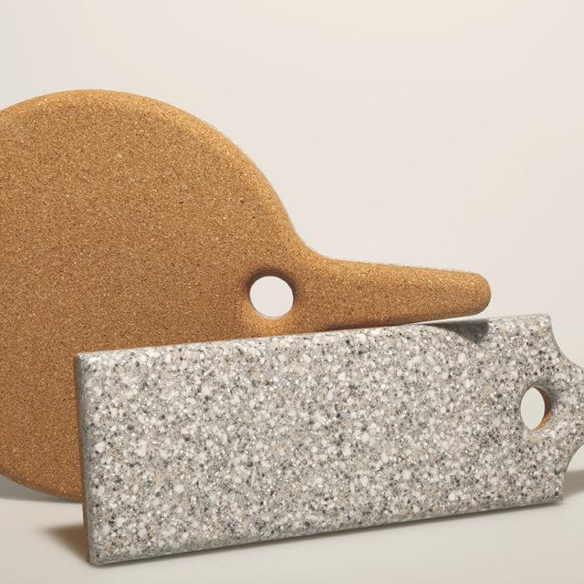 Cork & Corian Trivets: Marbley Paddle & Bat