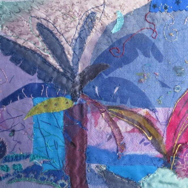 Blue Palm - Fabric Collage