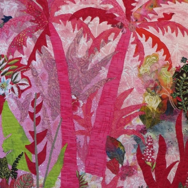 Pink Palms - Fabric Collage