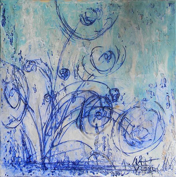 Cool Blooms by Andrew Csafordi, Encaustic 10'x10'