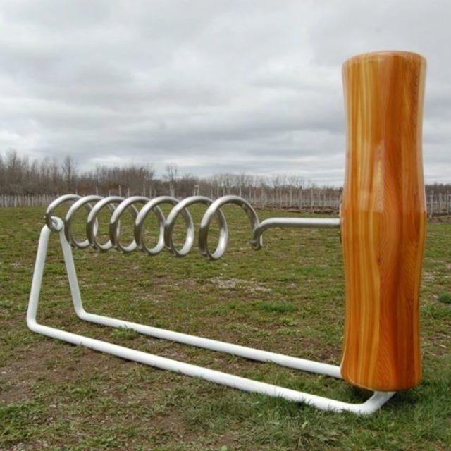 Corkscrew- steel, wood sculpture