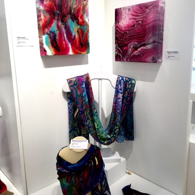 Devore silk scarf by Amelie Koning and acrylic and resin on wood panel by Rolande Crawford