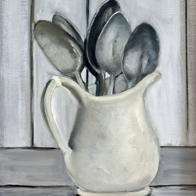 Mug-o-Spoons, Oil on Board