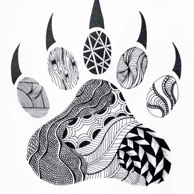 Bear Claw, Pen & Ink
