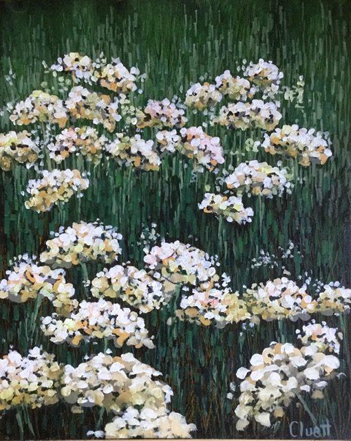 In My Garden #1 - Wild White Phlox by Veronica Cluett, acrylic