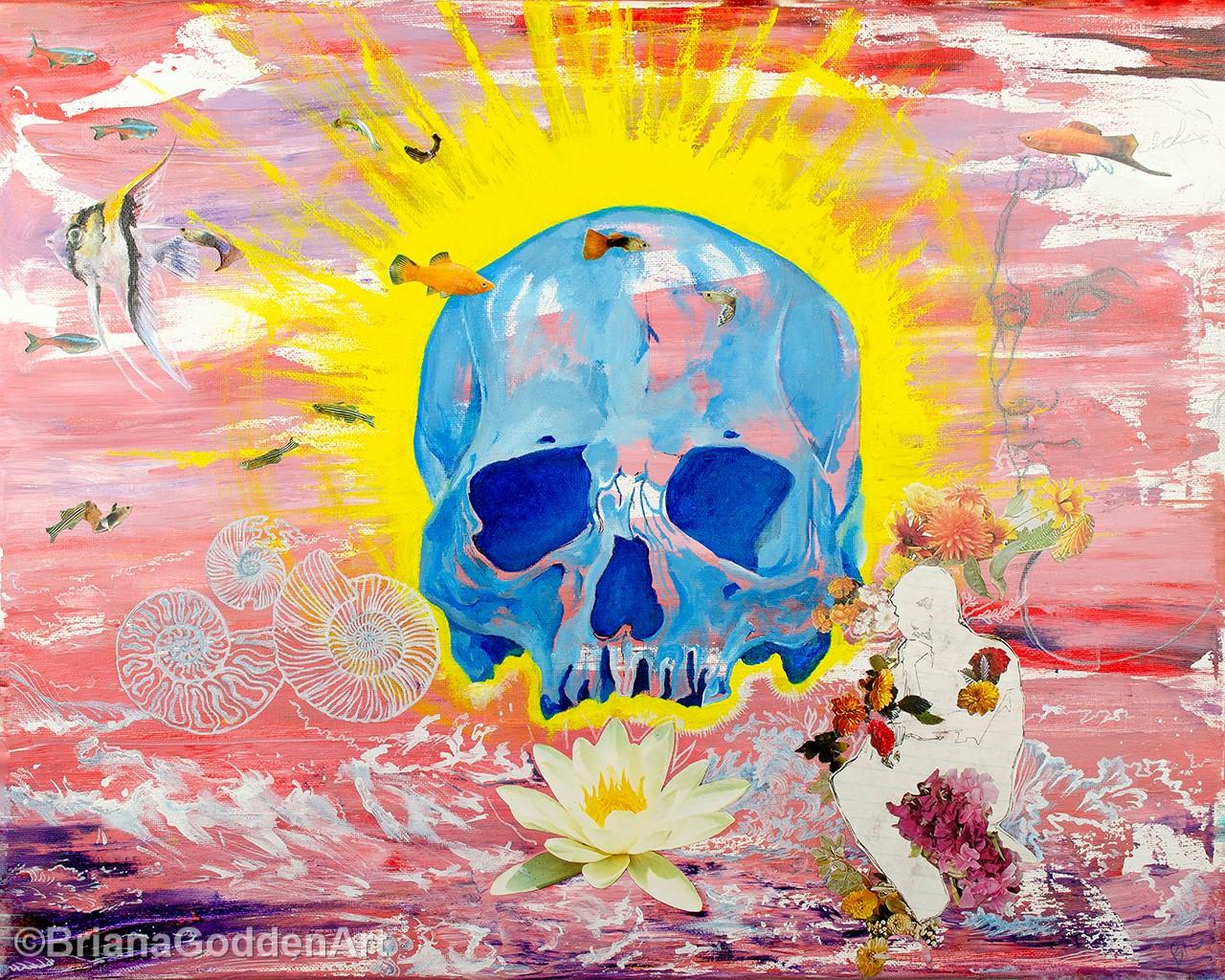 Blue Skull Surrounded by Dreams by Briana Godden, acrylic, 20