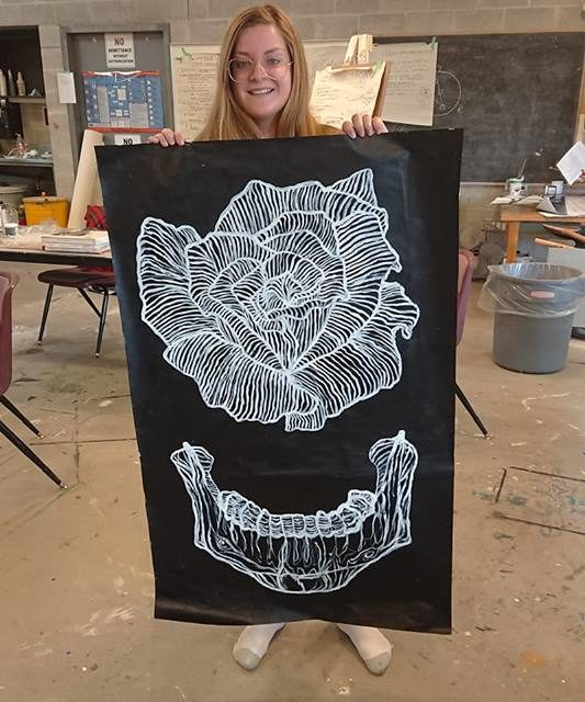 Rose and Jaw Painting by Briana Godden