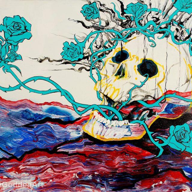 Skull With Blue Roses by Briana Godden, acrylic, 18