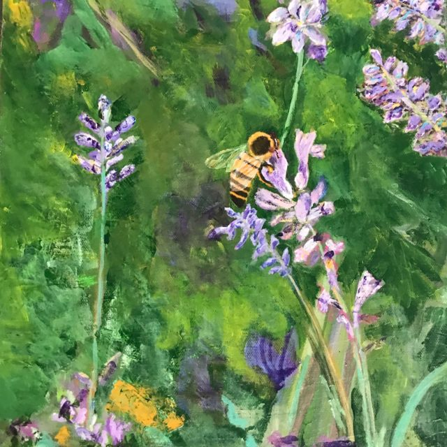 Honey Bee by Agnes Bellegris, acrylic on canvas