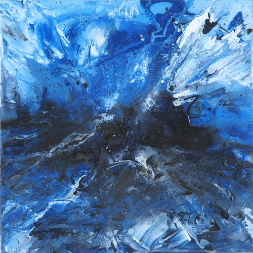 At Sea 1, acrylic on 16in x 16in stretched canvas; one of three canvases in a perfect storm