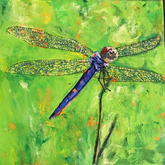 Dragonfly by Agnes Bellegris, acrylic on canvas