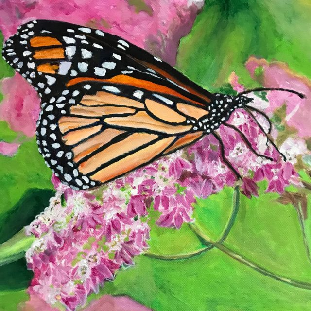 Monarch Butterfly by Agnes Bellegris, acrylic on canvas