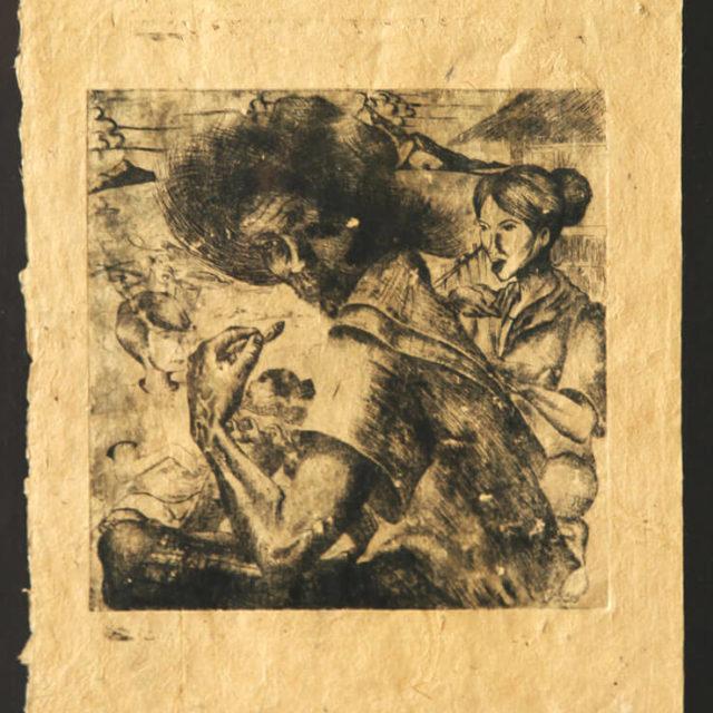 Farmer by Adryan Manasan, copperplate etching on handmade paper