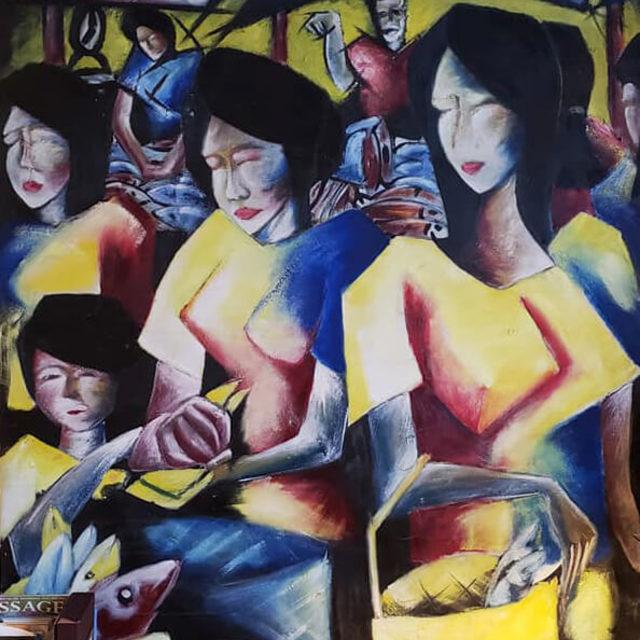 Fish Market by Adryan Manasan, oil on canvas