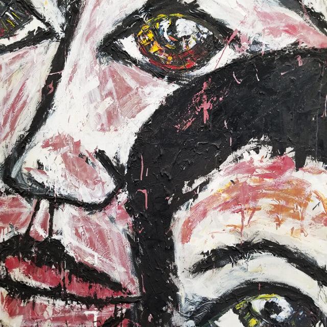 Adryan and Mel by Adryan Manasan, mixed media on canvas
