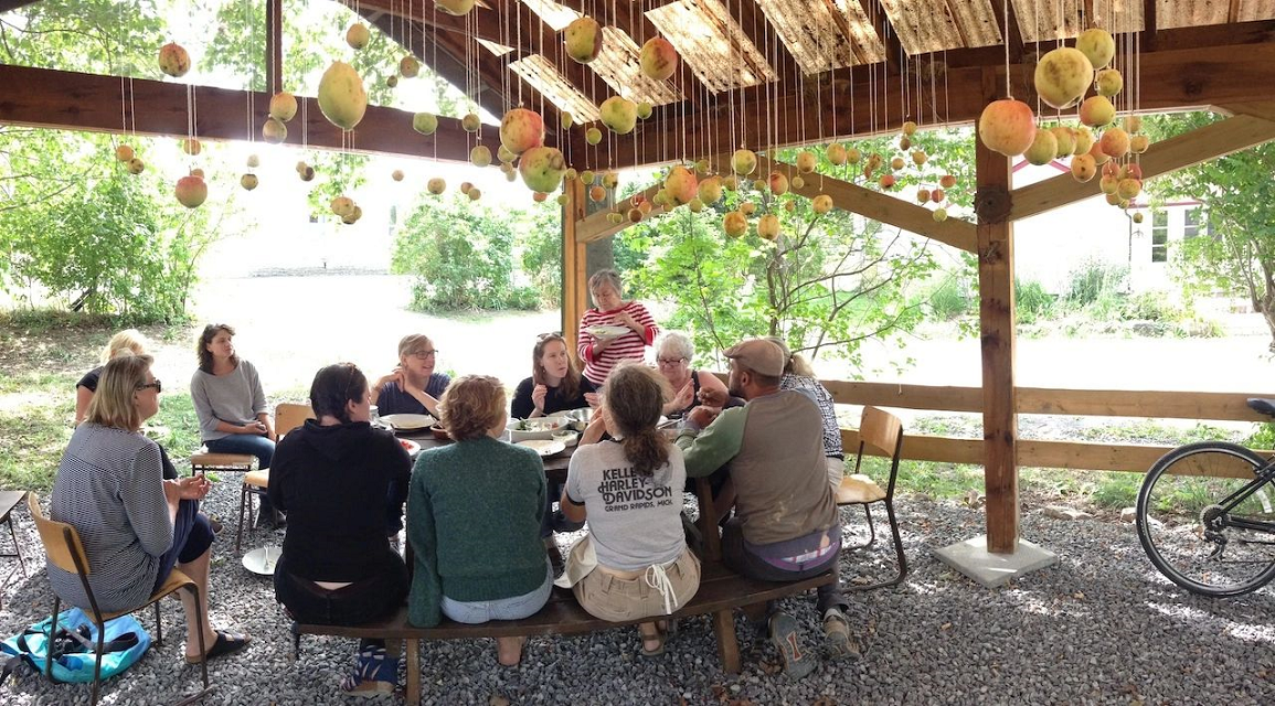 In response to COVID-19, Alchemy's programming shifted away from its usual residency programming (pictured here) to a small group of volunteers and artists who make twice-weekly suppers for seasonal farm and vineyard workers during the harvest season.