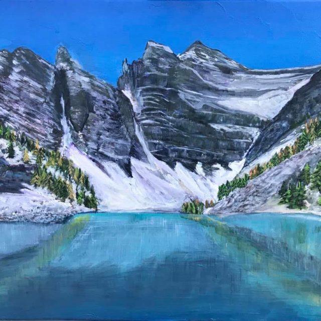 Lake Agnes by Agnes Bellegris, acrylic on canvas