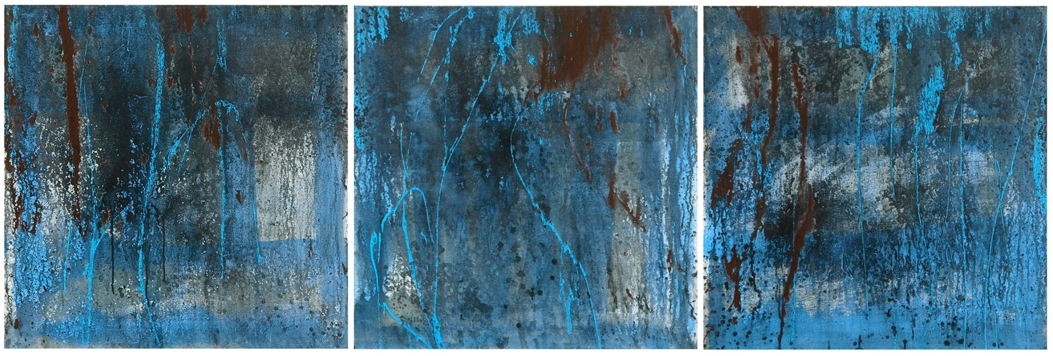 Light Blue Triptych, mixed media set of 3 24in x 24in canvases